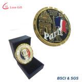 Pièces de monnaie faites sur commande en gros de souvenir en métal de la France avec la boîte-cadeau