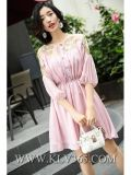 Ultima signora Clothing Summer Pink Half di modo del manicotto del vestito da partito dolce