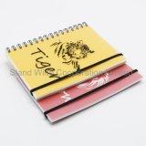 Espiral papelaria impressos coloridos para notebook de PP com faixa elástica