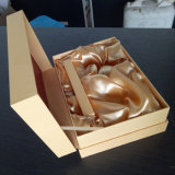 良質の熱い押すカスタムロゴの灰色の見返しのギフト用の箱