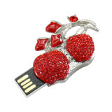 Modelo de cereja fruta jóias Crystal Stick USB Flash