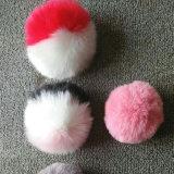 Поддельный шарики шерсти кролика POM POM 3 шарика Keychain