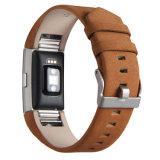 Couro genuíno clássica faixa de relógio substituta para Fitbit Carregar 2
