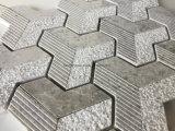 シェブロンパターン灰色白の大理石のモザイク・タイル