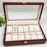 Capacidad grande que empaqueta el rectángulo de madera de lujo de /Gift del rectángulo de joyería del reloj con la ventana