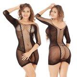 Women's Fishnet Mesh sangle de trou Chemise Mini robe lingerie nuisette