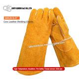 Перчатки заварки коровы безопасности желтого цвета K-20 работая Split кожаный