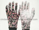 Яркие цветы печать садоводство работы PU перчатки
