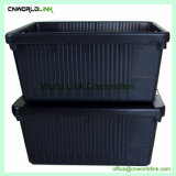 Tapa separada de almacenamiento en movimiento grandes contenedores de plástico apilables 80L