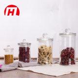 Vaso di vetro rotondo diritto del commestibile per il tè della caramella con il coperchio di vetro