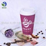 Firmenzeichen gedrucktes doppel-wandiger Schicht-Kräuselung-Wegwerfkaffee-Papiercup mit Deckel