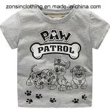 소년의 여름 개에 의하여 인쇄되는 아이들 옷을%s 가진 회색 짧은 소매 t-셔츠
