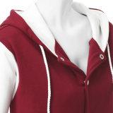 As mulheres grossista fabricante mangas longas do contraste de cores elegantes Borgonha Casaco Blusa com capuz de marfim
