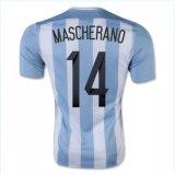 2016 Mascherano 14 die het Blauwe en Witte Voetbal Jerseyfree van Argentinië van het Overhemd van de Voetbal van het Huis van Strepen door DHL verschepen