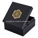 泡の挿入が付いている金/銀色の押すロゴの黒いギフト包装ボックス