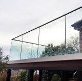 Sin cerco barandilla de vidrio aluminio montado sobre suelo