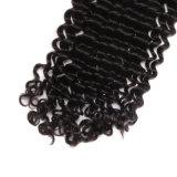 Da onda Curly peruana profunda natural média da onda da cor do cabelo da peça o cabelo humano com fechamento