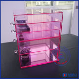 Organizzatore acrilico di trucco di disegno di modo di colore rosa di bambino di Yageli con il fornitore della maniglia