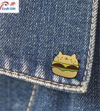 Kundenspezifischer netter Katze-und Hamburger-Form-Zink-Legierungs-ReversPin