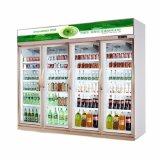 Супермаркет в вертикальном положении дисплей охладитель холодильник для напитков молоко с четырьмя дверьми