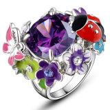 Кольцо кристалла Rhinestone имитационной эмали ювелирных изделий цветастое