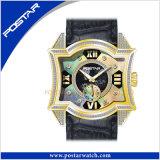 Orologio originale del quarzo della vigilanza di modo con la manopola di cuoio reale del Mop e della fascia
