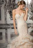 ストラップレスのレースのビーズの人魚の花嫁の衣服の衣服のウェディングドレス(8172)