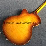 Nouvelles de Jazz de corps creux, guitare électrique avec système de trémolo ébène poutre en couleur chocolat (TJ-99)