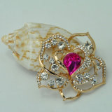 Banhado a Ouro VAGULA Rose Flower Crystal Broche