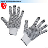 Guanti laterali del cotone punteggiati PVC di protezione dei guanti del commercio all'ingrosso due