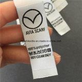 Custom fondo gris claro con letras negras tejidas etiquetas Cuidado de la lavado
