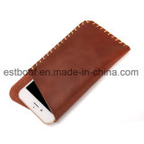 Estojo de bolsa de telefone celular universal de couro genuíno