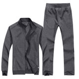 Activewear 100% Algodão 280GSM Men Blank Sports Zipper Sweatsuit