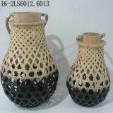 Vintage antique de Ratton ou bambou lanternes de tissage avec poignées