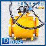 Didtekの炭素鋼のフランジの端は十分にワームギヤが付いている球弁を溶接した
