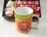 Orange en céramique promotionnelle à l'intérieur de tasse de café noir de deux sons