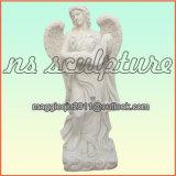 Естественный белый мраморный ангел Ms1702