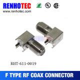 Conector de ángulo recto coaxial del montaje F del PWB del RF