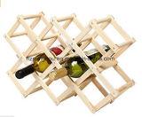 Держатель бутылки вина Shelving вина 10 бутылок подарка складной деревянный
