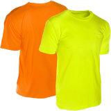 T-shirt élevé de visibilité de couleur pure d'usine pour la sûreté de 100%Cotton