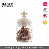 285ml de goedkope Kruik van de Pudding van het Glas van de Kalk van de Soda van de Prijs met Ceramisch Deksel