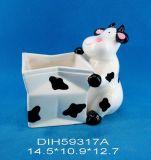 Ciotola di ceramica dipinta a mano della caramella della mucca