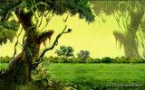 Las caminatas manchadas de los ciervos y el introducir en la pintura al óleo hermosa del paisaje de la niebla de la mañana del bosque