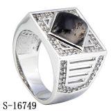925 anelli d'argento degli uomini della pietra preziosa con la CZ bianca & nera mista