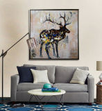 Картина маслом холстины искусствоа стены Handmade лося домашних товаров животная