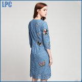 Mariposas de encaje azul bordado vestido de niña de moda