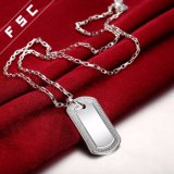 De in het groot Zilveren Geplateerde Halsbanden van de Tegenhanger van de Rechthoek voor Mannen en Vrouwen