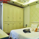 White 4 Door Clothing Armoire de rangement Garde-robe Meubles (GSP17-021)