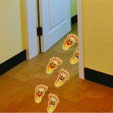 L'abitudine ha tagliato autoadesivo a stampo tagliente dei piedi del vinile dei grafici del pavimento stampato decalcomanie del pavimento il piccolo
