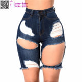 European High Quality Ripped Rivet Últimas Cat Fringed High Cintura Mulheres Calças Jeans Curtas L538